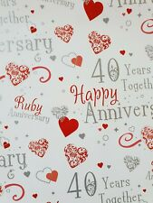 2 SHEETS OF GOOD QUALITY GLOSSY RUBY WEDDING ANNIVERSARY WRAPPING PAPER 40 YEARS