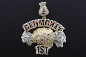 14K Yellow Gold Plated Hip Hop Micro Pave ICED GET MONEY 1ST Flashy Charm