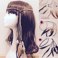 Hippie Indian Feather Headband Handmade Weave Feathers Hair Rope Headdress_qi