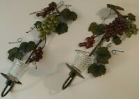 Vintage Home Interiors Metal Grapevine Wall Candle Sconces Green Purple Grapes