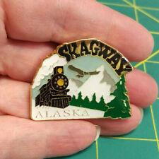 Alaska Magnet Skagway with Old Train & Bald eagle, great metal magnet - NEW