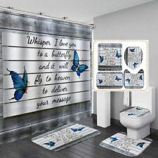 Butterfly Letter Shower Curtain Bath Mat Toilet Cover Rug Home Bathroom Decor