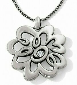 NWT Brighton METROPOL Silver Convertible Necklace Flower Swirl Crystal MSRP $62
