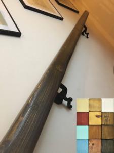 Handrail/Bannister Rail - Wood & Wrought Iron - Square: 7cm - Handmade