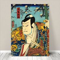 """Vintage Japanese Kabuki Samurai Art CANVAS PRINT 18x12"""" Kunisada #210"""