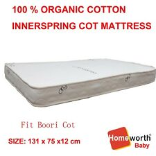 100 Organic Cotton Cover 131x75 Innerspring Cot Crib Baby Bed Mattress