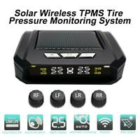 Auto Kfz Wireless Solar LCD Reifendruck Kontrollsystem TPMS +4 Externer Sensoren