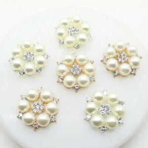 Wedding Pearl Buttons Flatback Fashion Flowers Round Cluster Crystal Rhinestones