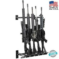 Modern Gun Rack 6 Rifle Shotgun Wall Mount Black Tactical Steel Hold Up Displays