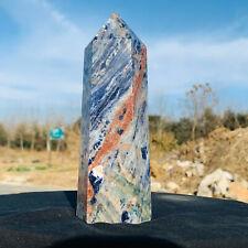 764g Natural Blue Striped Stone Quartz Mineral Obelisk Polished Healing 2876