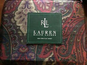 NIP Ralph Lauren Socialite Flat King Sheet 300tc Supima Sateen Burgundy Boho