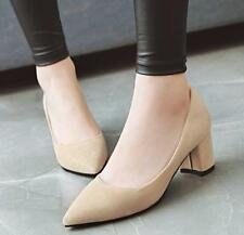 Women Mid Block Heel Shoes Suede Fabric Pointed Toe Formal Pumps Black/Red Korea
