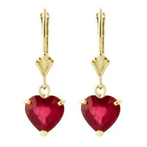 Fashion Gold Red Zircon Heart-Shaped Pendant Earrings Women'S Wedding Gift