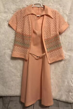 New listing Vtg 70s Belted Sheath Dress With Crochet Jacket Peach Pastels Size 16