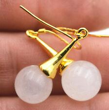 Beautiful Natural white jade Gemstone 925 Silver Gold-plated/Dangle Earrings