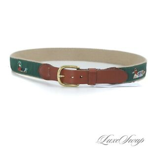 Leatherman Ltd Made in USA Wheat Canvas Mount Green Ducks Emblematic Belt 34 NR