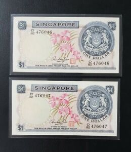 Singapore $1 Orchid Series Banknote HSS With Seal 2pcs Rn B/82 476046~47
