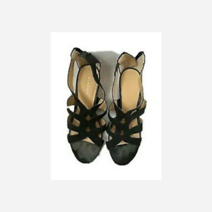 Pesaro Wedge Sandal Shoes Women Size 7M Strappy Open Toe Zip Up Back