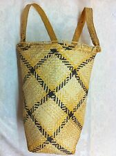 RARE Authentic Artisan Native Rush Woven Backpack Basket Asian Collectible