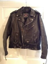 Mens River Road Leather Motorcycle Jacket Size 48 Black