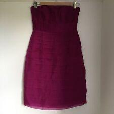 Monsoon Evening Cocktail Party Dress Size 8 Dark Pink Silk Strapless Dress