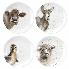 "Wrendale Designs Set of 4 plates 6.5"" side salad plates Cow Donkey Sheep Duck"