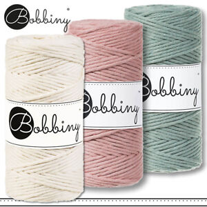 Bobbiny 3 x 330g 3mm 100m PREMIUM Makramee-Kordel | Natural + Blush + Laurel