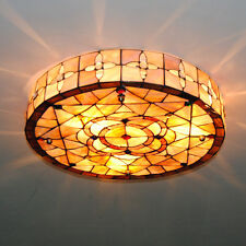"18"" Retro Tiffany Ceiling Lights Stained Shell Dining Room Light Fixtures CL233"