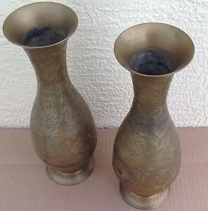 Brass India Vase pair identical, 20th century Anglo, engraved bohemian 225-BF