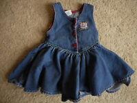 Vintage Oshkosh B'gosh Plaid Childs USA 3T Cotton Denim Toddler Overalls Dress