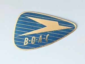 New Vintage BOAC Luggage Suitcase Label Blue & Gold New Old Stock