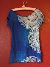 Womans Shirt Dulce China Blue Graphic Geometric Spirograph Print Blouse L Top