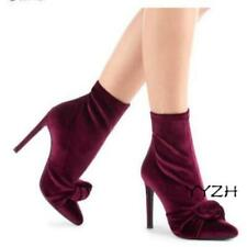 Women's Velvet Suede Ankle Boots Stiletto High Heeled Casual Shoes Runway Boots