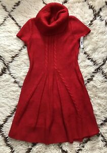 NWT New Directions MEDIUM RED Sweater Dress Cowl Neck MSRP $110