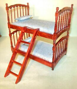 BUNK BED MAHOGANY BED WITH BEDDING #6528 DOLLHOUSE FURNITURE MINIATURES