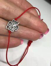 Silver Clover  Lucky Bracelet Red Cord Bracelet Handmade