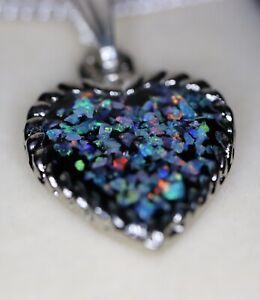 Genuine Coober Pedy Opal Chip Silver Heart Pendant + Chain - MADE IN AUSTRALIA