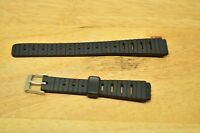 12mm BLACK PLASTIC WATCH BAND STRAP SILVER TONE BUCKLE -NEW