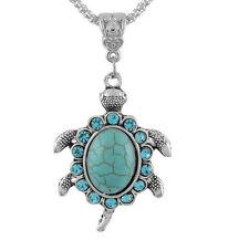 Women Boho Turquoise Rhinestone Turtle Pendant Silver Sweater Chain Necklace