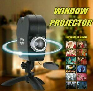 Halloween Xmas Mini Holographic Window Projector Festive Movies Display Lamp