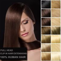 180g Extra Thick 16''~26'' Full Head Clip In 100%Remy Human Hair Extensions 8PCS