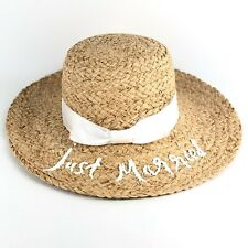 16aebf4f NWT Kate Spade Womens 'Just Married' Floppy Beach Straw Braided Raffia  Sunhat