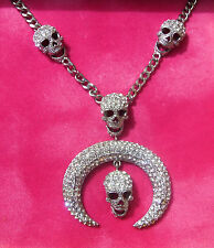 "Butler & Wilson Crystal Skull & Curved Tusk Necklace, 17"" - 20"" Adjustable"