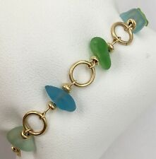 "14K Yellow Gold Small Child 6"" Beach Glass Bracelet 6.2 Grams"