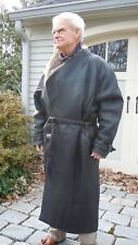 "Mens European Leather overcoat, ""Marc Buchanan"", lined and insulated, fur collar"