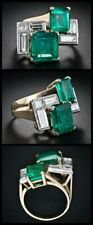 High Polished Gold Plated 925 Sterling Silver Green Emerald Baguette CZ Ring