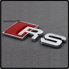 New RS Badge Emblem Decal Sticker Logo for Audi Boot Lid Rear Trunk Tailgate Car