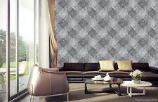 Papel Pintado Rasch - Mármol DIAMANTES Azulejo - gris / Negro - De Lujo Liso -