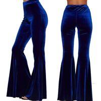 Fashion Women's Vintage Slim Velvet Flared High Waist Trousers Bell-Bottom Pants