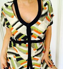 TS WOMENS Designer TOP TUNIC PRINTED Sleeveless Comfort Work Rayon Nylon Sz 12